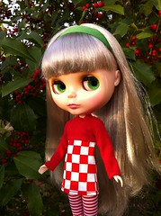 Prim and the Holly Bush (welovethedark) Tags: red green doll holly blythe prim iphone takarablythe holidayoutfit iphonephoto iphonecamera iphonecameraapps blytheoutside kissmetrueblythedoll