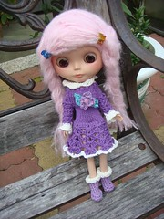 knit and crochet long sleeve dress for blythe