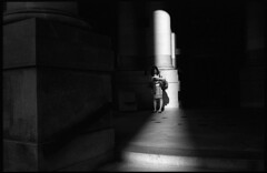 Downtown SF (icki) Tags: sanfrancisco california ca street blackandwhite woman reading downtown alone shadows october2012