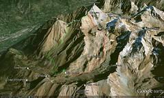 Google Earth 3D (vista SO) (Emanuele Lotti) Tags: italy mountain montagne trekking italia hiking lac 8 valle 2006 monte alpi montagna col carrel aosta monti rifugio luglio gele ferrata escursionismo traccia bivacco laghi escursioni zullo arbolle emilius graie