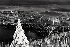 Vancouver city from Grouse Mountain (PIERRE LECLERC PHOTO) Tags: city travel trees winter urban blackandwhite mountain snow nature night vancouver clouds forest season spectacular landscape snowboarding outdoors photography lights amazing cityscape skiing awesome grouse best citylights nightscene bestintheworld grig bestphotos pierreleclerc mostbeautifulcity
