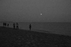 Beach in Koblevo, near Odessa, Ukraine (Bonifatsiy) Tags: camera sunset sea people bw white black beach by walking evening sand kodak silhouettes ukraine late pointandshoot oblast koblevo c713 odeska