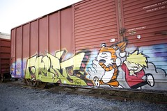 FLERT AUB 3EK (Chasing Paint) Tags: color colors train graffiti bright pinky graff calvinandhobbes freight aub calvinhobbes layup flert 3ek