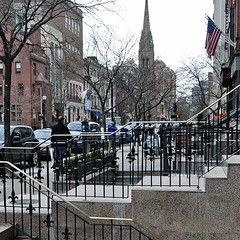 Newbury Railings (AntyDiluvian) Tags: motif boston shop stairs fence store massachusetts wroughtiron steps newburystreet steeple boutique railing backbay churchofthecovenant fleurdulis