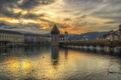 Luzern by day (Fil.ippo (AWAY)) Tags: wood travel bridge sunset lake water lago switzerland nikon tramonto swiss luzern ponte svizzera acqua viaggio hdr filippo lucerna legno d60 filippobianchi