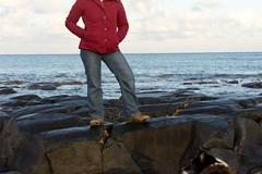 17-1-2013 (Copperhobnob) Tags: sea portrait selfportrait snow beach coast scotland sand rocks aberdeenshire stones stcombs rocls