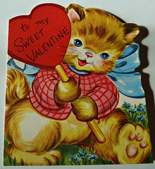 Vintage Valentine Card (MissConduct*) Tags: cat vintage illinois kitten kitty valentine collection card valentines greeting valentinesday missconduct oldglorycottage