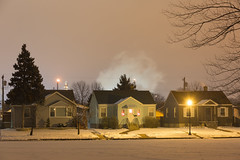 Houses, Steam (metroblossom) Tags: light building night buildings indiana photograph bp residential refinery e1 whiting almostthere img9019 ktq kartemquinfilms northwesternindiana whitingrefinery