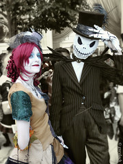 Victorian-age Jack Skellington and Sally (greyloch) Tags: katsucon cosplay 2016 thenightmarebeforechristmas moviecharactercostume moviecharacter victorian steampunk jackskellington sally fancy costumes topazlabs niksoftware