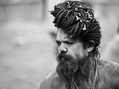 Kolkta - Naga Sadhu (sharko333) Tags: travel voyage reise street india indien westbengalen kalkutta kolkata  asia asie asien people portrait man sadhu beard hair gangasagarmela olympus em1 bw