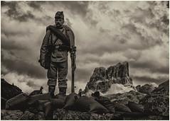 Tre Sassi Fort (Eric@focus) Tags: valparola averau veneto cortinadampezzo belluno dolomites museum soldier figure mountain noiretblanc pass black white blackwhite bw