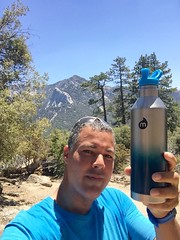 Break Time, Cheers Mate! (Blue Rave) Tags: 2016 sanjacintomountains trail nature idyllwild california ca iphonephotography iphoneography trees suiciderocktrail hike hiking suiciderock tahquitzpeak lilyrock mountains mizubottle mizulife self myself ego me bloke dude guy male mate people selfie thecolorblue blue path pathway