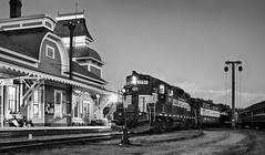 Hear that lonesome whistle (FotoFloridian) Tags: trains nh vintage railway scenic northconway newhampshire sony a6000 alpha fotodiox nik hdr station mono historic night