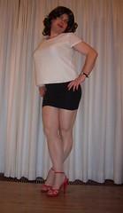 red toes in nylon (Barb78ara) Tags: redtoes nylon nylons pantyhose shinypantyhose shinynylon blackskirt miniskirt microskirt redheels strappyheels strappyredheels strappysandalettes whitetop secretary