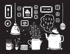 Teapot Lamp Vase Kitchen Still Life Art Frames on Black (juliaminimundos) Tags: m1222 pot tea teadrinking stilllife monochrome vase cook collection doodle food drinking teapot elements vector sketch scribble scratch vintage black inky graphic retro freehand illustration cartoon design decor white isolated decoration cooking symbol ingredient set fork spoon lamp steam drawing decorative script lettering cup cookie cake flowers
