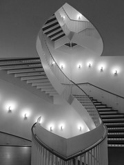 Stairway, Museum of Comtemporary Art, Chicago, Illinois (duaneschermerhorn) Tags: architecture architect art contemporary modern contemporaryarchitecture modernarchitecture contemporaryart modernart stair stairs circular spiralcircularstairway spiralstairway stairway stairwell steps abstract blackandwhite bw blackwhite grayscale greyscale