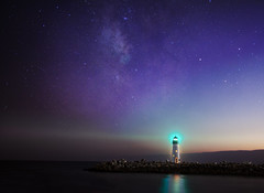 Santa Cruz, Walton Lighthouse, Milky Way (sheelkapur) Tags: milkyway galaxy canon 5d mkii 24105mm f4 astro astrophotography santacruz california lighthouse ray lightray ocean pacific andromeda constellation sunset