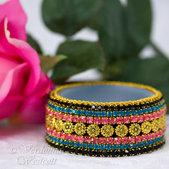 Sherwani Chic by Verdonna Westcott (Verdonna.com) Tags: indian bollywood mosaic jar bowl dish art deco colors pink turquoise black trinket vanity ring tibetan gold flower beads chain rhinestone embellished