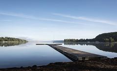 Autumn blues (anek07) Tags: lake fryken värmland sweden sverige autumn september mirror reflection blue forrest jetty brygga stilla calm water vatten strand