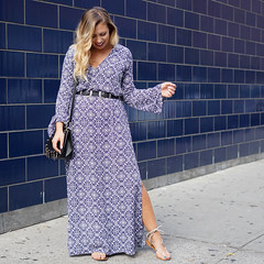 Printed Blue Bell Sleeve Maxi Dress NYFW Living After Midnite Jackie Giardina Outfit Fashion Blogger (jackiegiardina) Tags: blue fashion jackiegiardina livingaftermidnight livingaftermidnite maxi nyfw outfit printed style