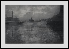 New York 090916/01 (Gibbom) Tags: water me multipleexposures monochrome newyork 50mm impression light city landscape river brooklyn bridge