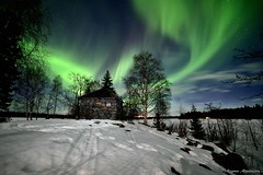Aurora borealis over a old building (m.martinsson87) Tags: night aurora borealis northern light winter dark sky nightsky stars space house old building contrast green trees landscape samyang wideangle nature blue clouds lake island moonlight stone sweden nordic
