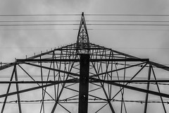DSC_2146 (Holt MeCloser) Tags: architecture lines black white barbed wire power line bw symmetry symmetrical