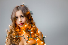 Pamela Garcia (Dominick Nicholas Valdivia) Tags: christmas red bench hair studio landscape lights model silk headshot backdrop lipstick strobes portofeverglades