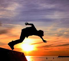 Fugit irreparabile tempus (meghimeg) Tags: sunset sea boat tramonto mare sails barche genova rollerblade pattini 2011 vele