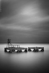Concrete Criss-Cross (AndWhyNot) Tags: sea cloud seascape motion water glass concrete mono movement long exposure harbour welding jetty solent drift supports eastney 9066