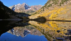Morning Bells (photobenedict) Tags: morning travel autumn lake mountains reflection fall reflections landscape nikon colorado aspen maroonbells photobenedict