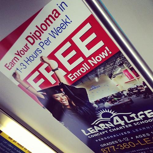 Charter school ad on LA bus