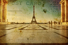 Greetings from Paris !  Wish You  a  Happy New Year (fifich@t / Franoise) Tags: paris france texture photoshop sunrise eiffeltower earlymorning toureiffel chaillot oldpostcard trocadro hss parvisdesdroitsdelhomme ladamedefer nikond300 nikkor1685vr bestcapturesaoi udo fifichat1 frs allrightsreservedfrs parvisdelatoureiffel