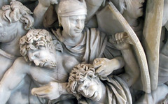 Ludovisi Battle Sarcophagus, detail with 2 captive Goths