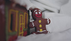 Mr. Gingerbread and his house (A) Tags: bear christmas xmas red food white house green yellow canon eos soft colours shrek yum gingerbread snowmen sweets gingerbreadhouse 2012 gingerbreadmen 40d canon40d