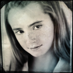 hipstamatic daguerreotype portrait (blaneyphoto.) Tags: portrait girl vintage square model headshot retro teen teenager freckles daguerreotype iphone hipstamatic