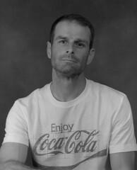 A Portrait of Me (Convict J-man) Tags: portrait macro mamiya self pull cola 10 c stock tshirt coke delta 45 d76 iso 1600 enjoy pros medium format mf asa 6x7 3200 coca processed ilford rb fogged pulled rb67 sekor 140mm