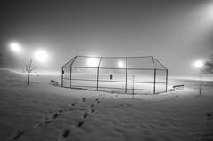 Foggy Winter Night (Doug Wallick) Tags: winter snow rain weather minnesota fog night lights baseball tracks minneapolis lightroom a55 picmonkey