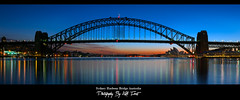 Sydney Harbour Bridge - Sydney Harbour Australia (Kiall Frost) Tags: ocean bridge blue red sky panorama orange seascape water sunrise reflections landscape nikon harbour pano sydney australia panoramic nsw operahouse stitched sydneyharbourbridge 1635mm bluespoint nodalninja d7000 kiallfrost