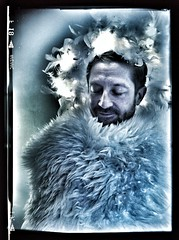 Winter angel (StartTheDay) Tags: christmas blue winter light portrait man male wool angel self fur beard photo furry feather safe angelic bearded sheepskin mec 2013 snapseed uploaded:by=flickrmobile flickriosapp:filter=nofilter