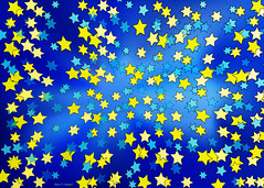 The Stars In The Sky (merripat) Tags: blue sky color yellow digital photoshop stars star illustrator starsinthesky thestarsinthesky