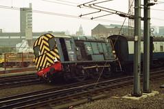19910330 023 Leeds. Grief Stricken Class 08 0-6-0DE, 08794 (15038) Tags: diesel leeds trains 350 locomotive rods railways britishrail shunter derailment class08 08794