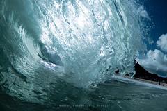 Swimming Within Sheets of Falling Ice (hynpoloboy) Tags: ice hawaii wave falling curl sandys edit sandybeach shorebreak aaroneskaran