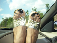 My feet - On the dashboard (hyellow) Tags: black sexy feet outside foot toes toe sandals polish ring flip heels flops pedicure dashboard wedge