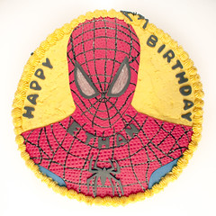 Spiderman Cake Ethan VIII (Doha Sam) Tags: birthday red party white home cooking yellow cake digital umbrella studio nikon raw flash spiderman indoors diffuser doha qatar d80 strobist lumopro colorperfect perfectraw samagnew smashandgrabphotocom lp160 colorpos wwwsamagnewcom maketiff