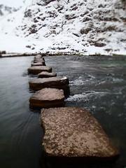 Stepping stones (wheelsy1) Tags: snow walking peakdistrict steppingstones scramble dovedale scrambling thorpecloud wintermountaineering riverdove richardwiles wheelsy1 wheelsy