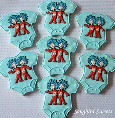 Thing 1 & Thing 2 Onesies (Songbird Sweets) Tags: drseuss onesies babyshower thing1 thing2 sugarcookies songbirdsweets