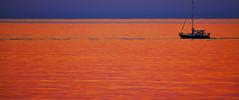 Atardecer (Caarlitoos.) Tags: blue winter sea sky orange azul atardecer boat mar waves barco cielo invierno naranja olas dnia