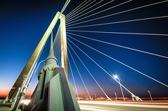 Lines in the blue (Sky Noir) Tags: new bridge blue usa tower sc night river photography arthur south jr charleston deck cables hour cooper carolina bluehour supporting ravenel skynoir