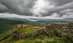 Distant Windermere.... (johngregory250666) Tags: lake district cumbria windermere low pike fairfield horseshoe outdoors outside nature rural fell fells lakeland ambleside imagesofengland nikon camera d5200 landscape wall drystone rock clouds cloud sky grey wow flickr nikkor green yellow summer light